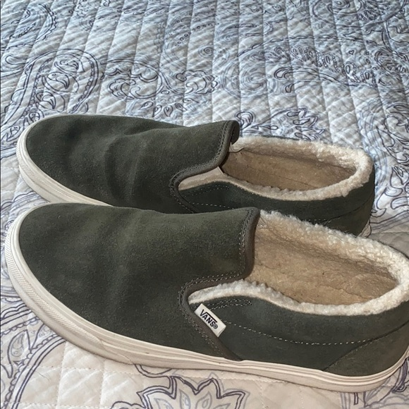 Vans Shoes | Olive Green Fuzzy Slip On